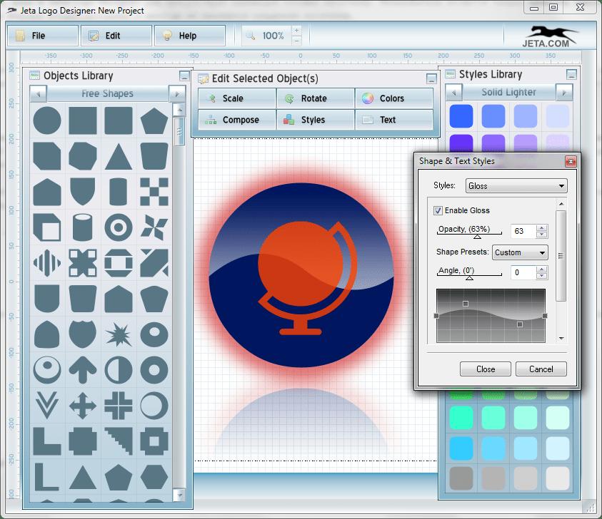 Глянцевость в Jeta logo Designer