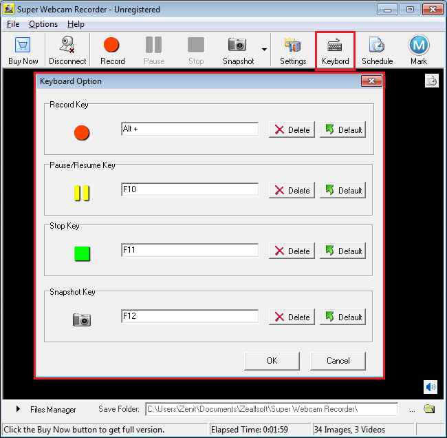 Горячие клавиши в Super Webcam Recorder