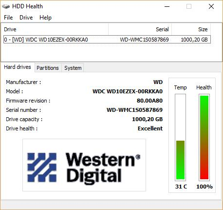 HDD Health главное окно с жесткими дисками