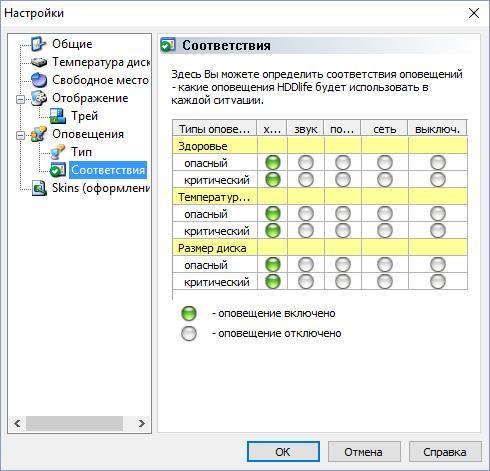 HDDLife Pro выбор соответствий для отображения