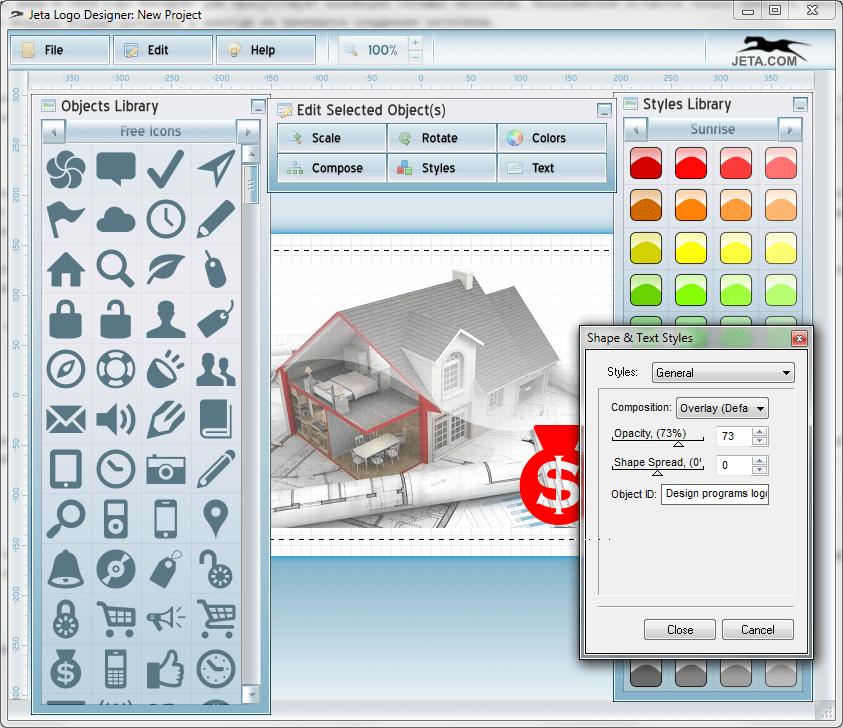 Импорт изображения в Jeta logo Designer