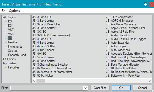 Интегрированная виртуальная машина (инструменты) в Reaper