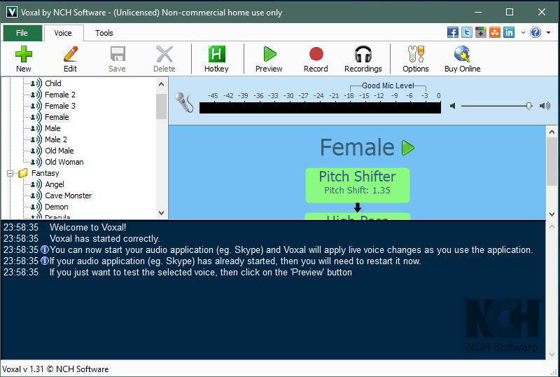 Интерфейс Voxal Voice Changer
