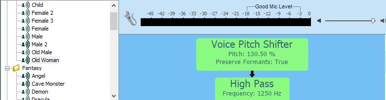 Изменение голоса в Voxal Voice Changer