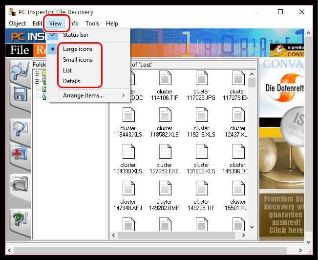Изменение режима отображения файлов в PC Inspector File Recovery