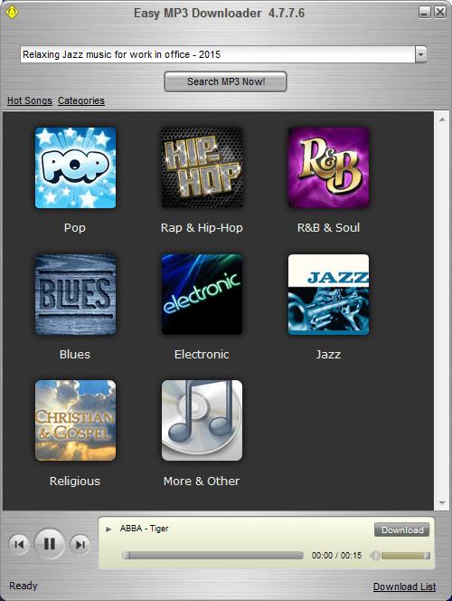 Категории музыки в Easy Mp3 Downloader