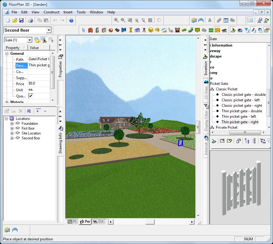 Ландшафтные элементы в floorplan 3d