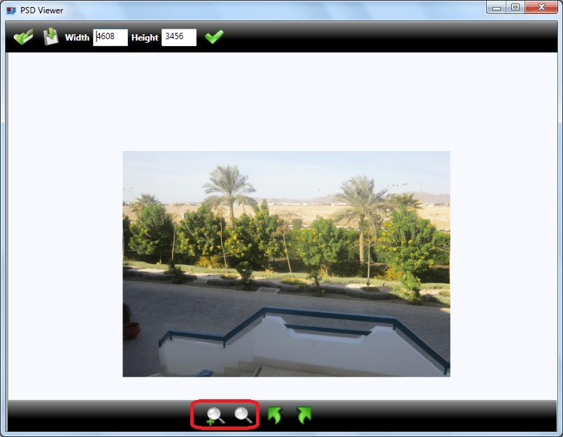 Масштабирование в программе PSD Viewer