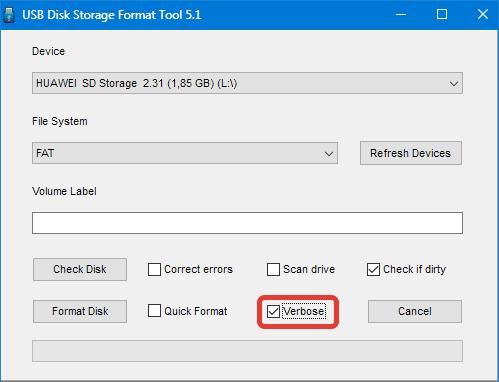 Многопроходное форматирование HP USB Disk Storage Format Tool
