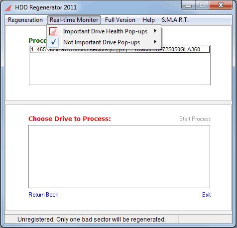 Монитор HDD Regenerator