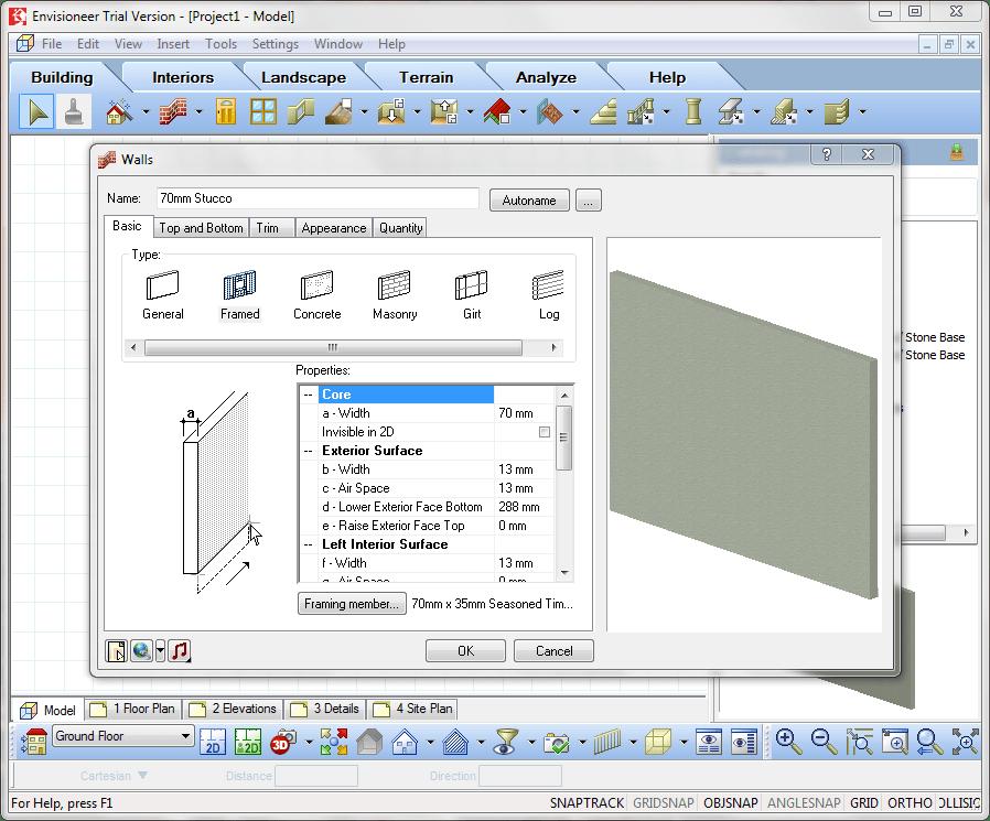 Настройка параметров стены в Envisioneer Express