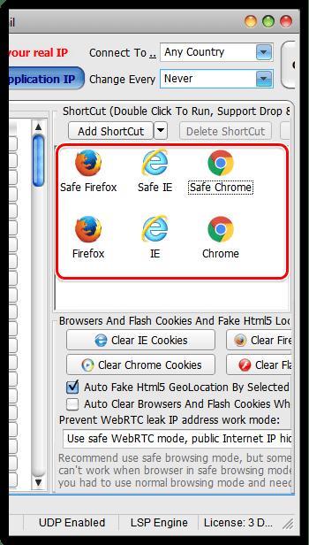 Настройка работы в браузерах в Hide All IP