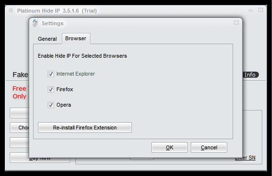 Настройка работы в разных браузерах в Platinum Hide IP