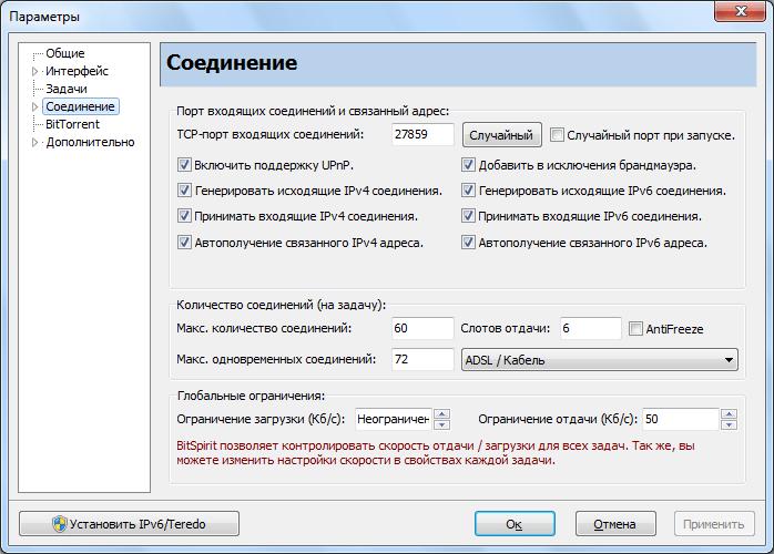 Настройки соединения программы BitSpirit