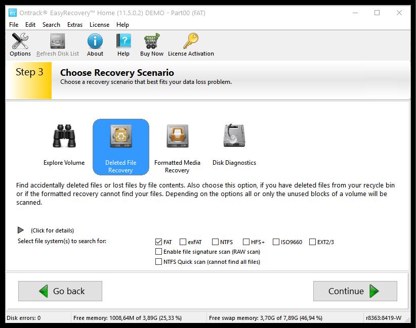 Несколько режимов работы программы в Ontrack EasyRecovery