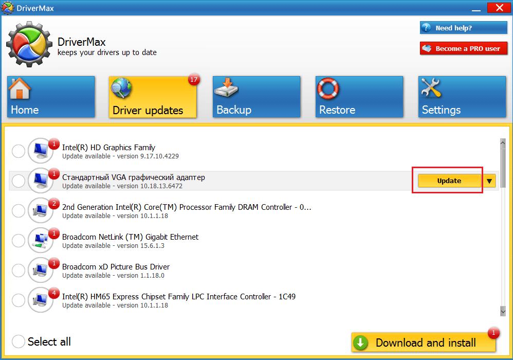 Обновление драйверов на видеокарту с помощью DriverMax