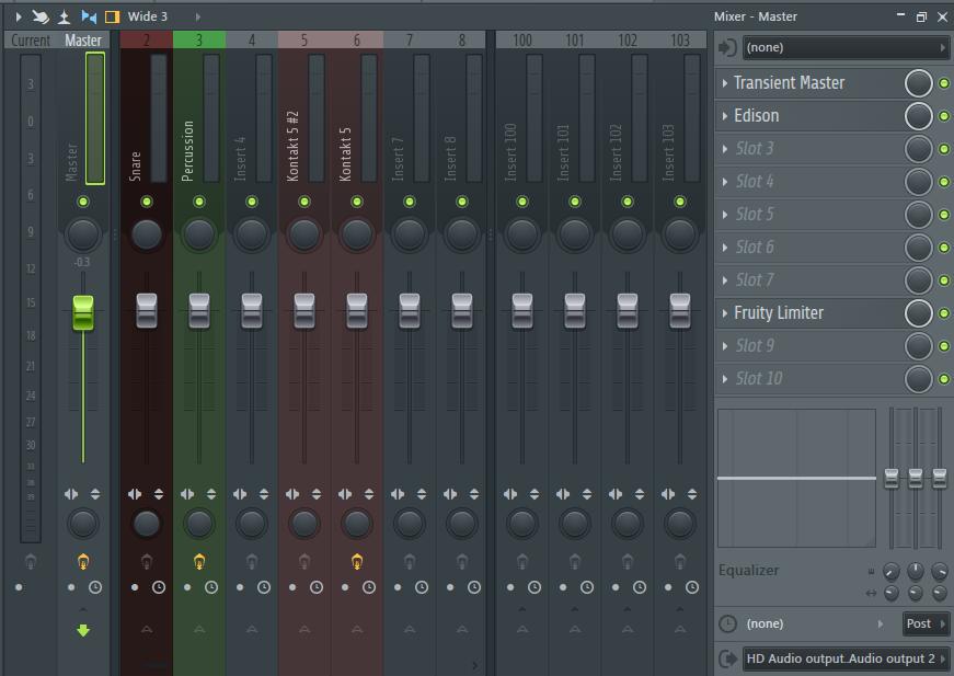 Обработка эффектами в микшере в FL Studio