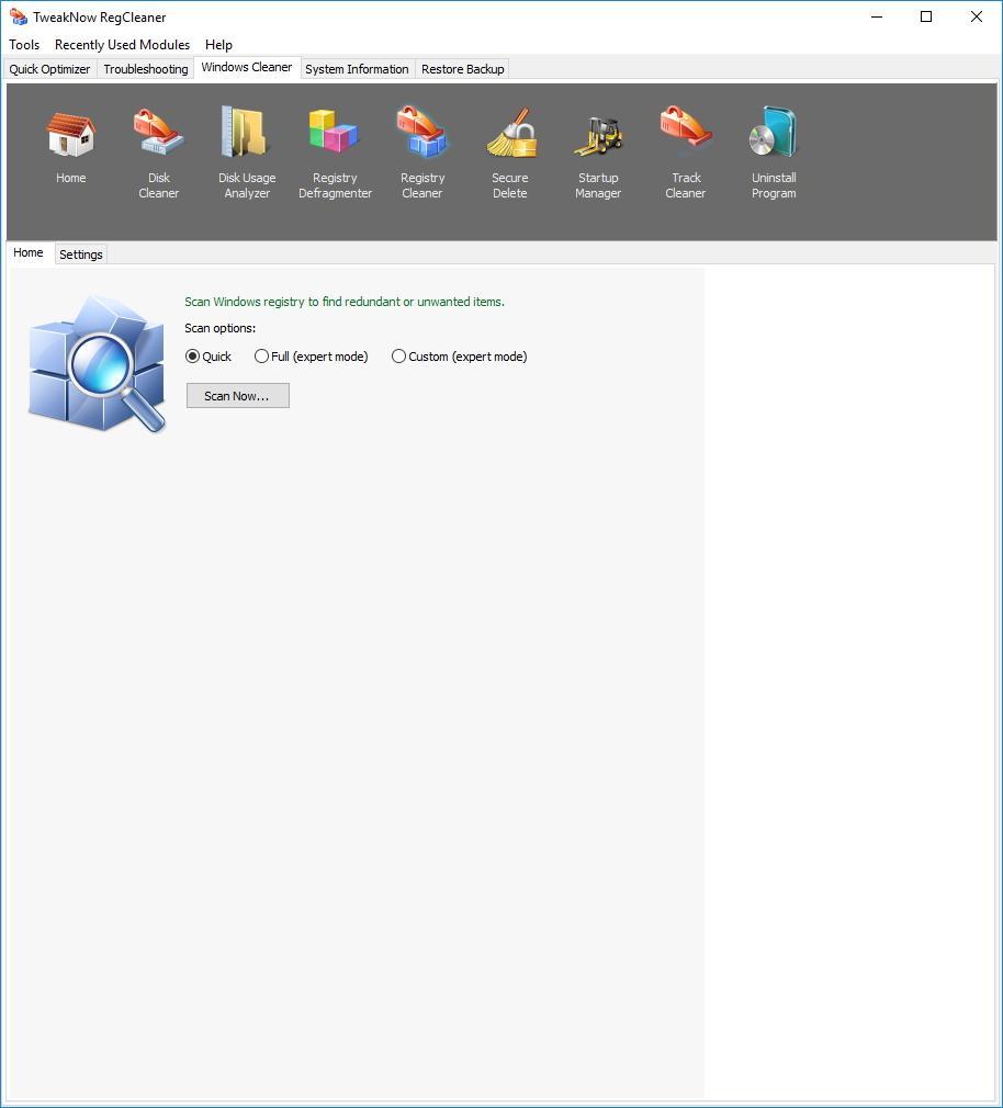 Очистка реестра в TweakNow RegCleaner