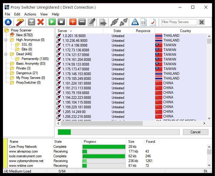 Огромный выбор прокси-серверов в Proxy Switcher