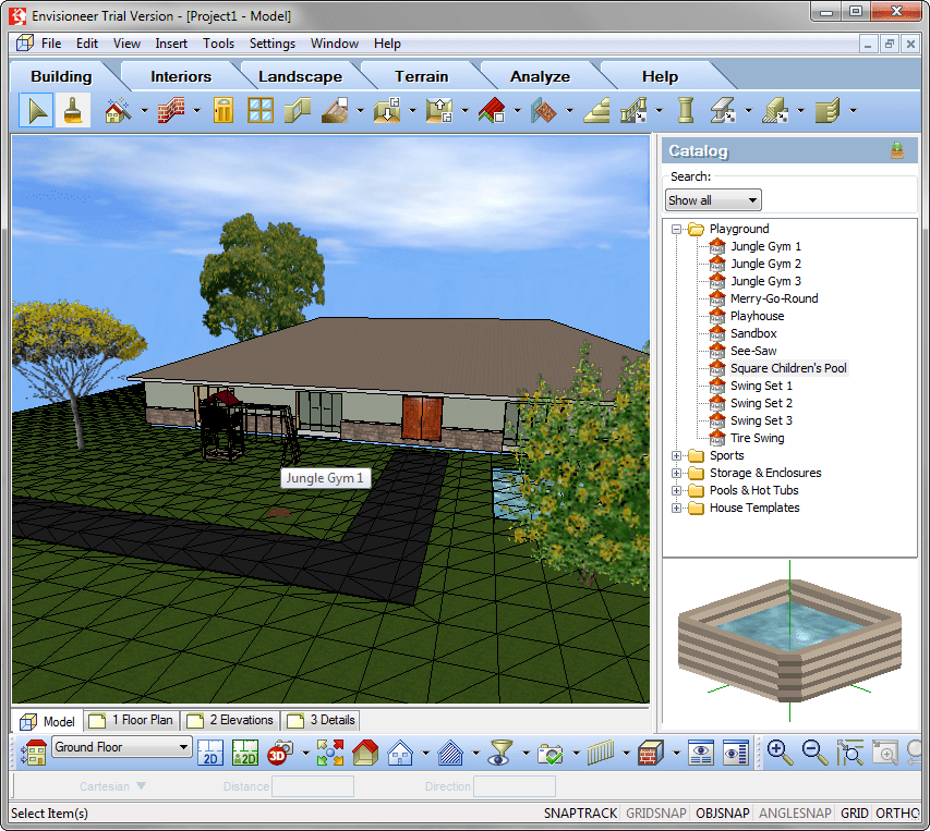 Окно 3Д-проектции в Envisioneer Express