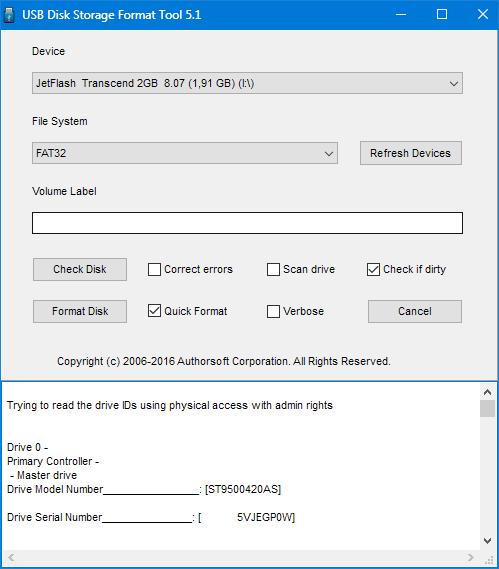Окно программы hp usb disk storage format tool