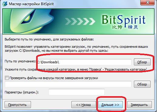Определение пути загрузки файлов в мастере настройки программы BitSpirit