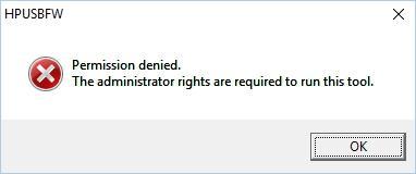 Ошибка при запуске HP USB Disk Storage Format Tool