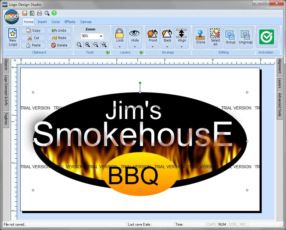 Открытие шаблона логотипа в Logo Design Studio