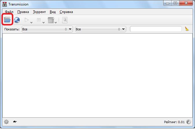 Открытие торрент-файла в программе Transmission