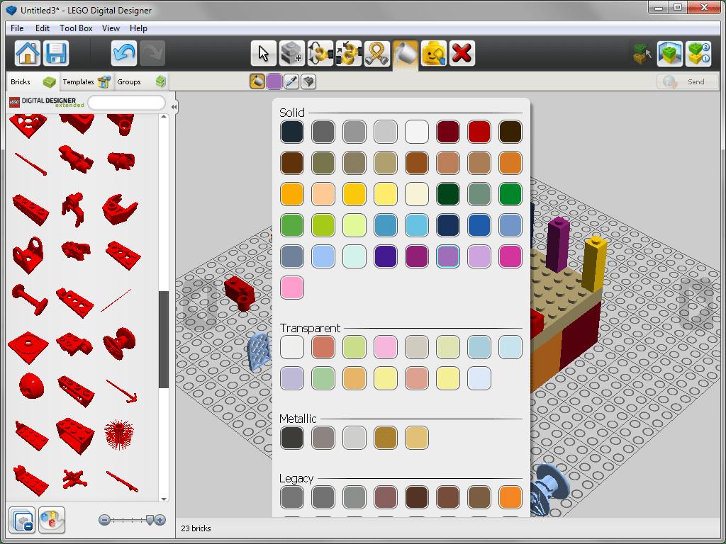 Палитра цветов в lego Digital Designer