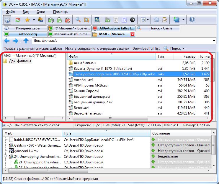 Папки на компьютере открыты для свободного доступа другим пользователям в программе DC++