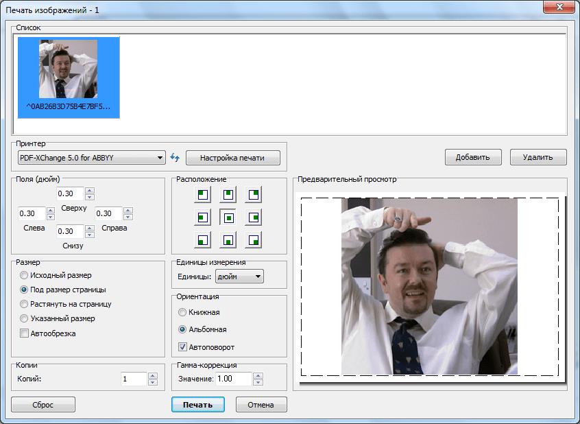 Печать изображения в программе Faststone Image Viewer