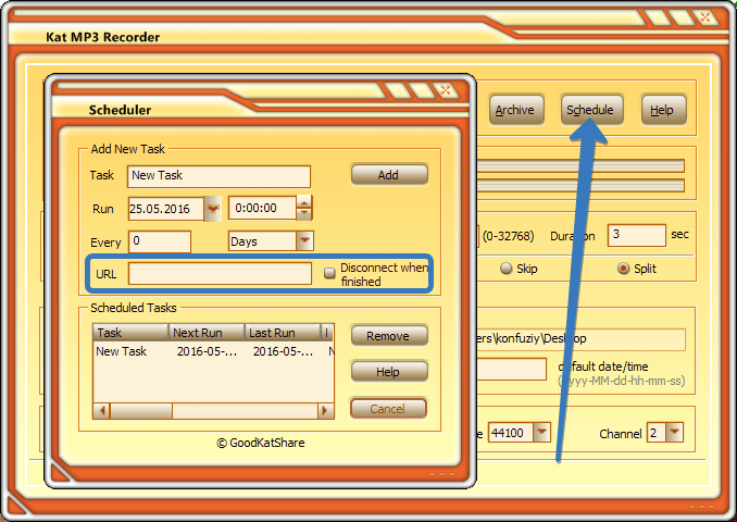 Планировщик Kat MP3 Recorder