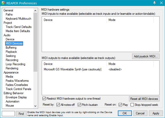 Поддержка MIDI-устройств в Reaper