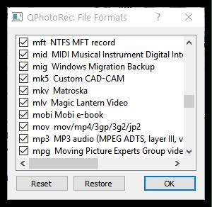 Поддержка большого списка форматов в TestDisk