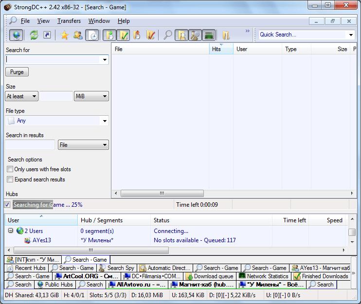 Поиск в программе в программе StrongDC++