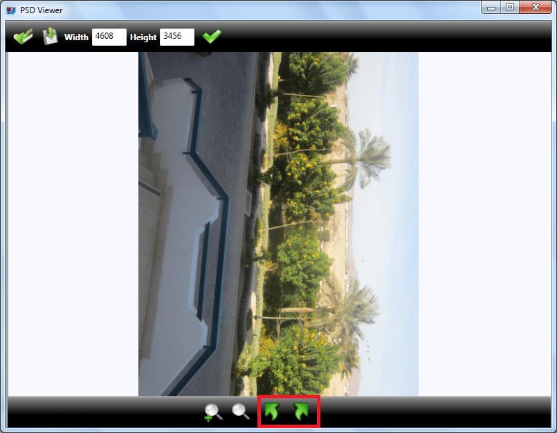 Поворот картинки в программе PSD Viewer