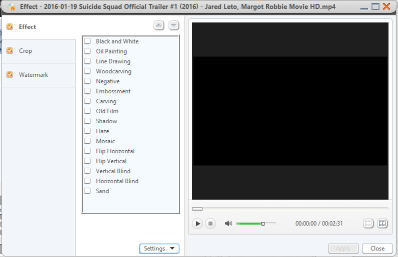 Применение эффектов в Xilisoft DVD Creator