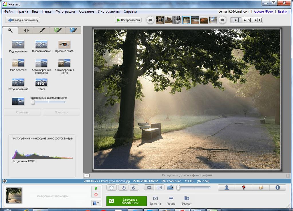 Прмотор изображения в Picasa