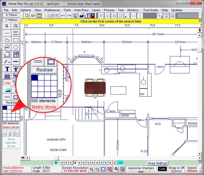 Просмотр рабочего поля в Home Plane Pro