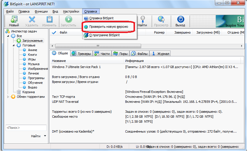 Проверка обновления в программе  BitSpirit