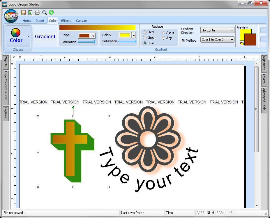 Редактирование цвета элемента в Logo Design Studio
