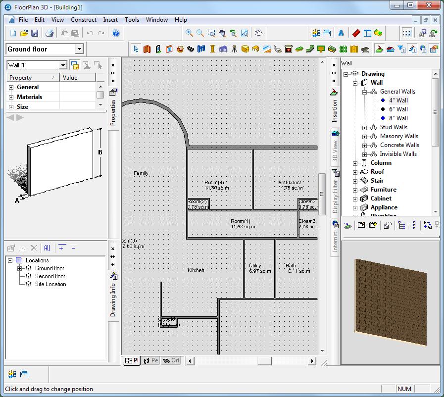 Рисование плана в floorplan 3d