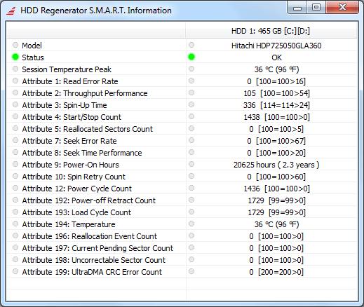 S.M.A.R.T. в программе HDD Regenerator