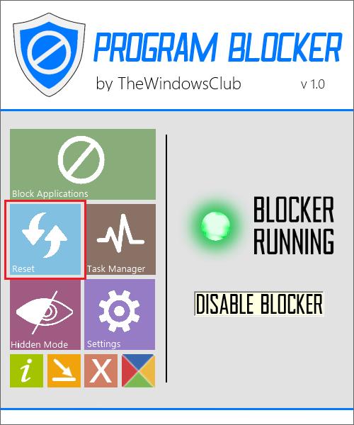 Сброс программы в Program Blocker