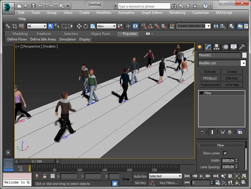 Симуляция толпы  в Autodesk 3ds Max