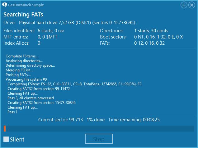 Сканирование файловой системы в GetDataBack