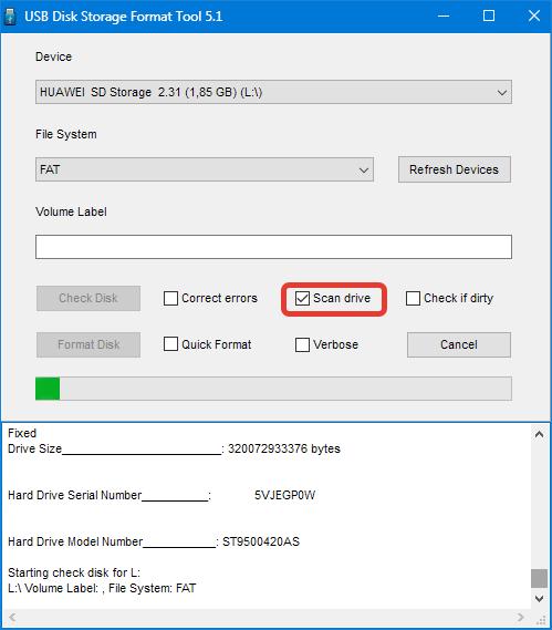 Сканирование флешки HP USB Disk Storage Format Tool