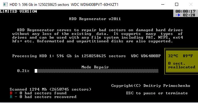 Сканирование  и восстановление жесткого диска с помощью HDD Regenerator