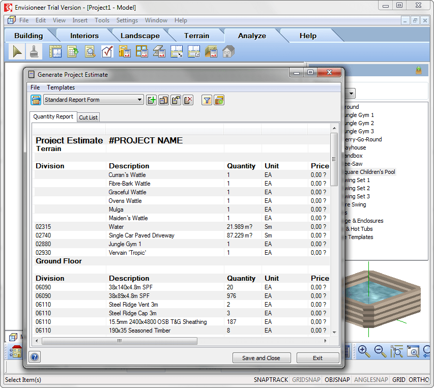 Смета материалов в Envisioneer Express